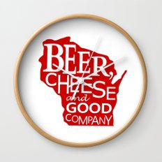 Red and White Beer, Cheese and Good Company Wisconsin Graphic Wall Clock