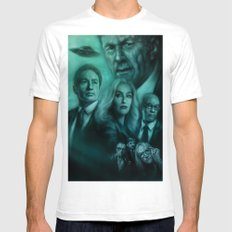 Mulder, Scully, Skinner, Lone Gunmen, Cigarette Smoking Man Mens Fitted Tee White SMALL
