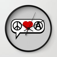 Peace. Love. Anarchy. Wall Clock
