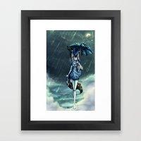 Standing in the rain Framed Art Print