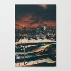 Fiery Brooklyn Piers Canvas Print