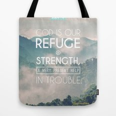 Typographic Motivational Bible Verses - Psalm 46:1 Tote Bag