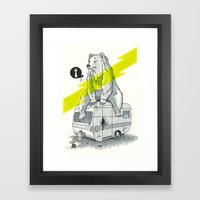 Camping Bear Framed Art Print