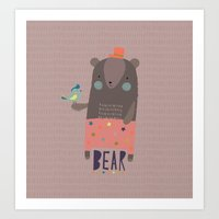 Big Bear and Bluebird Pink Art Print