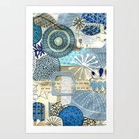blue collage Art Print