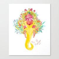 Floral Ganesha Canvas Print