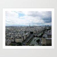 Paris Skyline With Eiffe… Art Print