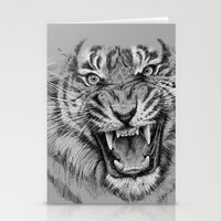 Tiger Drawing Black and White Animals Stationery Cards
