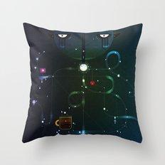 Self Portrait: Raid Boss, Coffee and Constellations Throw Pillow