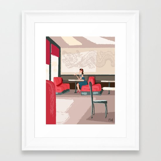 Sipping Green Tea at the Sushi House Framed Art Print