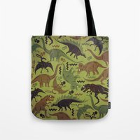 Camouflage Dinosaur Geometric Pattern Tote Bag
