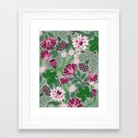 Magenta flowers on grey Framed Art Print