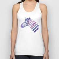 Zebra Watercolor Purple Stripes Unisex Tank Top