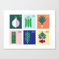 Vegetable Stamps Canvas Print
