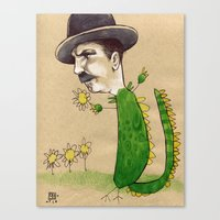 Dragon Guy with Flowers Canvas Print