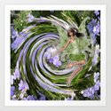 Green Flower fairy Art Print