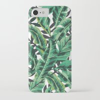 forest iPhone & iPod Cases featuring Tropical Glam Banana Leaf Print by Nikki