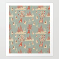 Reindeer, Trees and Elves Art Print