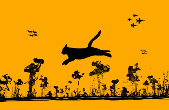 The Cat and Ink drop bombs Art Print