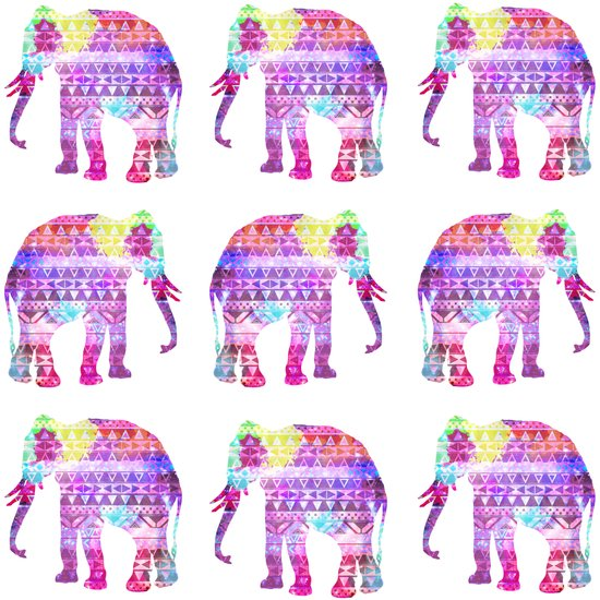 Elephants Aztec Pattern Pink Teal Nebula Galaxy Art Print
