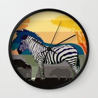 Sunset in Savanna Wall Clock