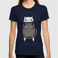 Space Cat Womens Fitted Tee Navy MEDIUM
