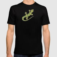 Yellow Anole SMALL Black Mens Fitted Tee