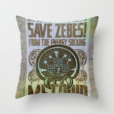 Save Zebes! Metroid Geek Art Vintage Poster Throw Pillow