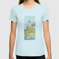 Peaceful Lighthouse II Womens Fitted Tee Light Blue SMALL