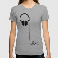 For The Love Of Music Womens Fitted Tee Athletic Grey SMALL
