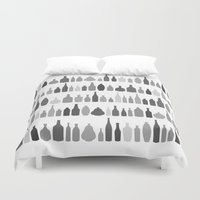 Bottles Black and White on White Duvet Cover