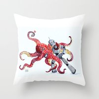 Robot Octopus Tango Date Throw Pillow