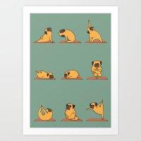 Pug Yoga Art Print