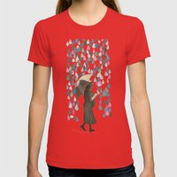 Rain Dance Womens Fitted Tee Red SMALL