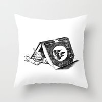 Girl And A Monster Throw Pillow
