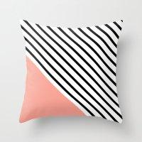 Diagonal Block - Pink Throw Pillow