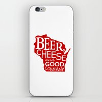 Red and White Beer, Cheese and Good Company Wisconsin Graphic iPhone & iPod Skin