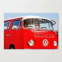 Red VW Bus Bold Print Canvas Print