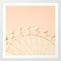 Ferris wheel on pink Art Print
