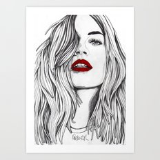 Girl with the Red Lips Art Print