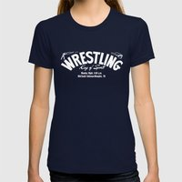 B&W Wrestling Logo Womens Fitted Tee Navy SMALL