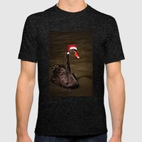Tis The Season - Swan Mens Fitted Tee Tri-Black SMALL