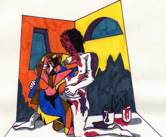 The artist and his artwork Art Print