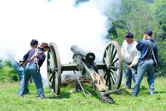 Civil War era canon fire Canvas Print