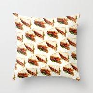Sandwich BLT Pattern Throw Pillow