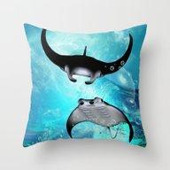 Manta Rays Throw Pillow