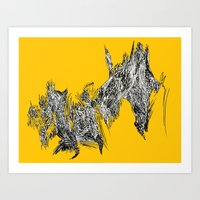 Waterfall in Yellow Art Print