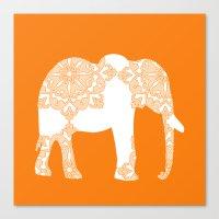 Floral Elephant Art On O… Canvas Print