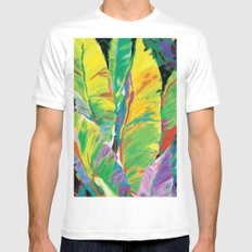 Exotic Leaves Mens Fitted Tee SMALL White