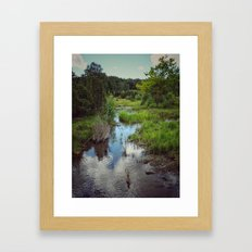 Cloud reflections in the stream Framed Art Print